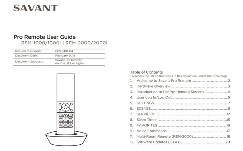 Savant Pro Remote User Guide